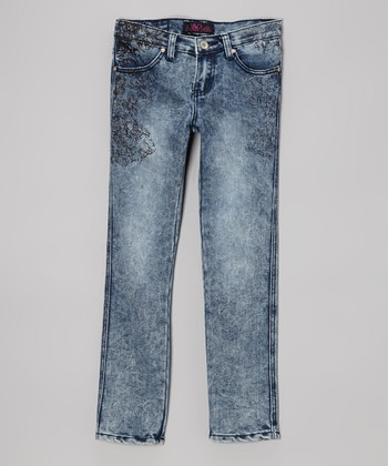 Medium Blue Acid Wash Skinny Jeans