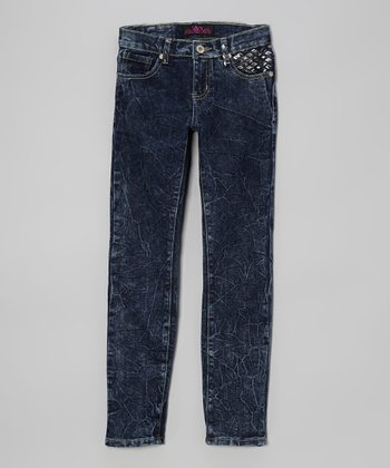 Dark Blue Acid Wash Stud Skinny Jeans