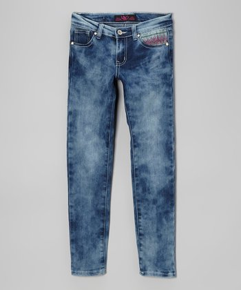 Medium Blue Acid Wash Stitch Skinny Jeans