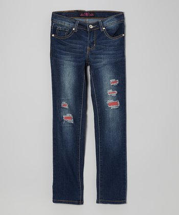 Dark Blue Wash & Red Distressed Skinny Jeans
