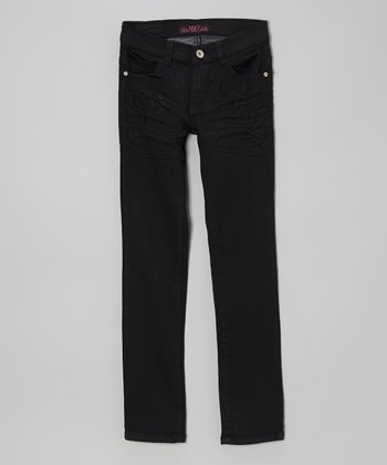 Black Triangle Twill Skinny Pants