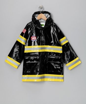 Black 'Fire Chief' Raincoat - Toddler