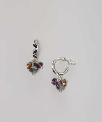 Silver & Purple Bead Hoop Earrings
