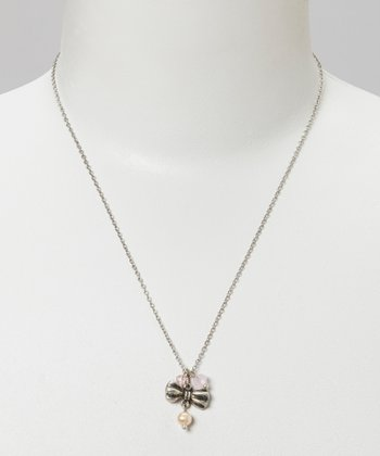 Silver & Pink Bead Bow Cluster Necklace