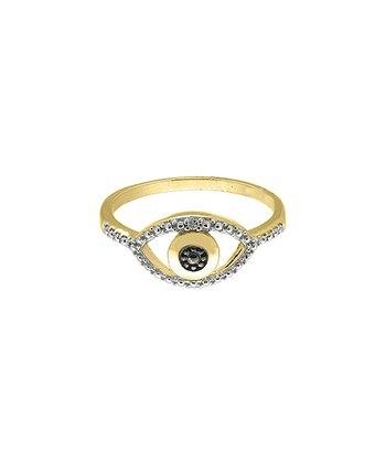 Gold & Black Diamond Eye Ring Size