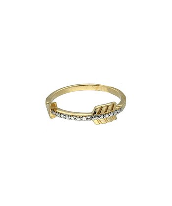 Gold Diamond Accent Arrow Ring
