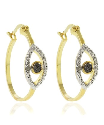 Gold Black Diamond Eye Hoop Earrings