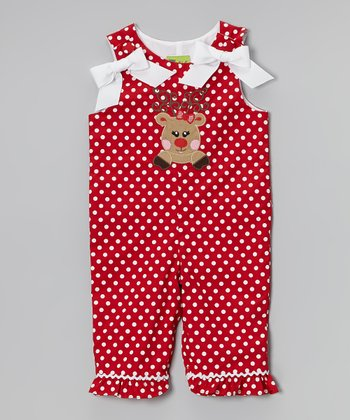 Red & White Polka Dot Reindeer Overalls - Infant & Toddler