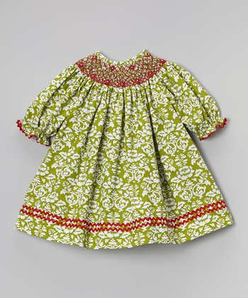 Green & Red Damask Bishop Dress - Infant, Toddler & Girls