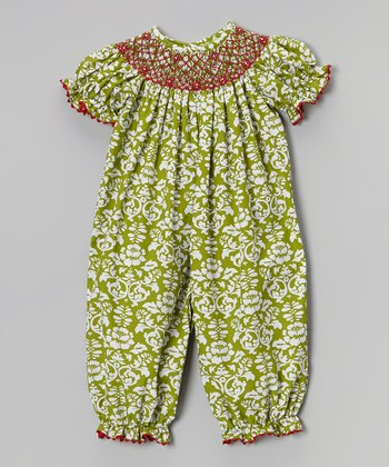 Green & Red Damask Playsuit - Infant & Toddler