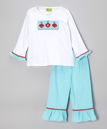 White & Blue Ornament Tee & Pants - Toddler & Girls