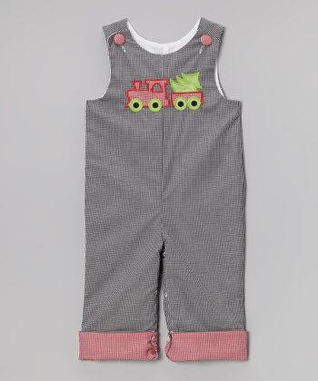 Brown & Red Gingham Train Overalls - Infant & Toddler