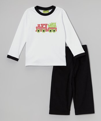 White Train Tee & Black Pants - Infant, Toddler & Boys