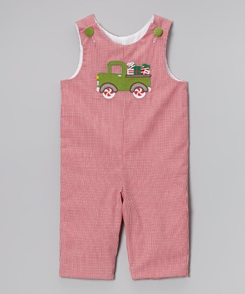Red & Green Gingham Truck Overalls - Infant & Toddler
