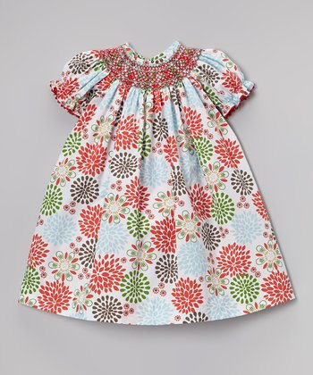 Red & Blue Poppy Burst Bishop Dress - Infant, Toddler & Girls
