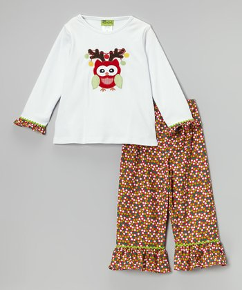 Red & Green Owl Tee & Pants - Toddler & Girls