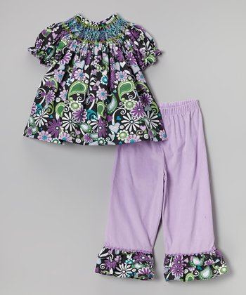 Purple & Green Floral Bishop Top & Pants - Toddler & Girls