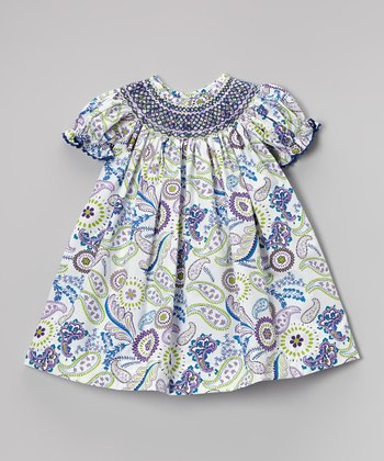 Purple & Green Paisley Bishop Dress - Infant, Toddler & Girls