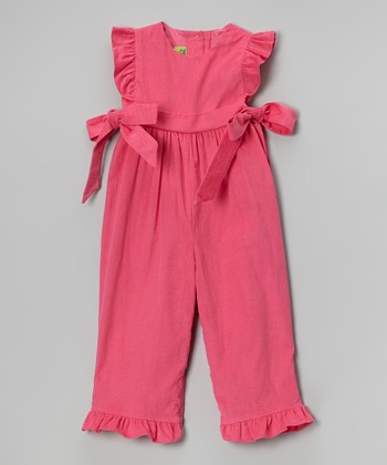 Pink Ruffle Corduroy Playsuit - Infant & Toddler