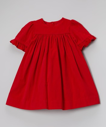 Red Ruffle Corduroy Dress - Infant & Toddler