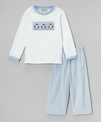 Blue & White Penguin Tee & Pants - Infant, Toddler & Boys