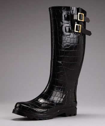Black Crocodile Tall Rain Boot