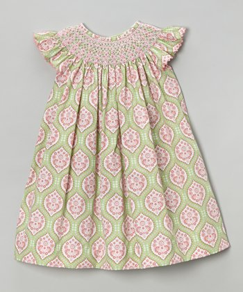 Green & Pink Angel-Sleeve Dress - Infant, Toddler & Girls