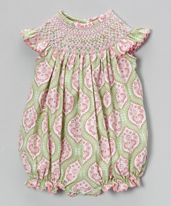 Green & Pink Arabesque Smocked Bubble Romper - Infant & Toddler