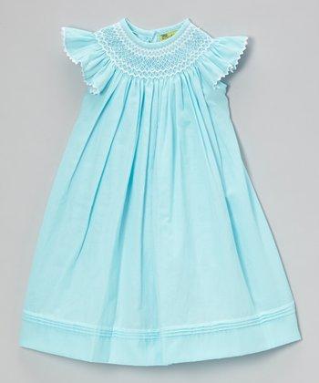 Sky Blue Angel-Sleeve Dress - Infant, Toddler & Girls