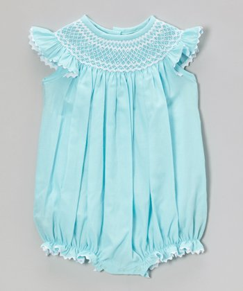 Sky Blue Smocked Angel-Sleeve Bubble Romper - Infant & Toddler