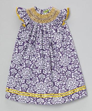 Purple Damask Angel-Sleeve Dress - Infant, Toddler & Girls
