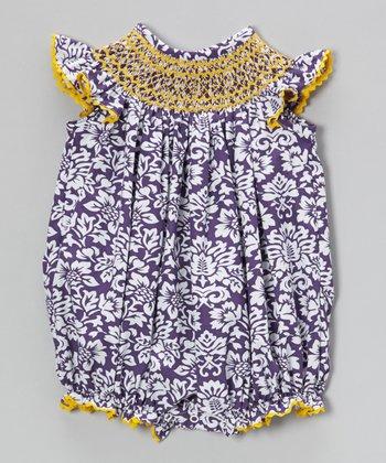 Purple Damask Smocked Bubble Romper - Infant & Toddler