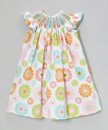 Pink & Turquoise Angel-Sleeve Dress - Infant, Toddler & Girls