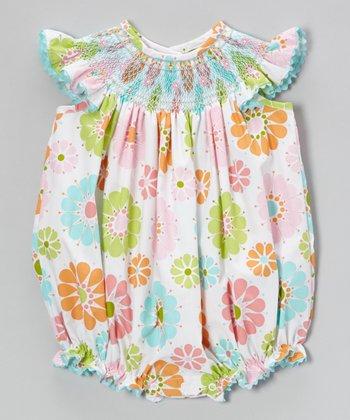 Pink & Turquoise Floral Smocked Bubble Romper - Infant & Toddler