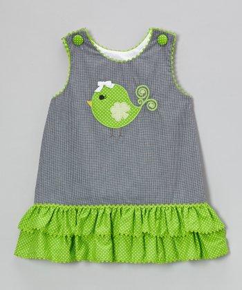 Black Gingham Clover Bird Ruffle Jumper - Infant, Toddler & Girls