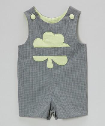 Black Gingham Clover Shortalls - Infant & Toddler