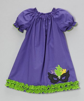 Purple Mask Puff-Sleeve Dress - Infant, Toddler & Girls