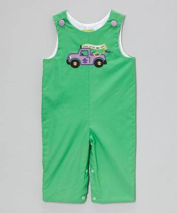 Green Mardi Gras Truck Overalls - Infant & Toddler