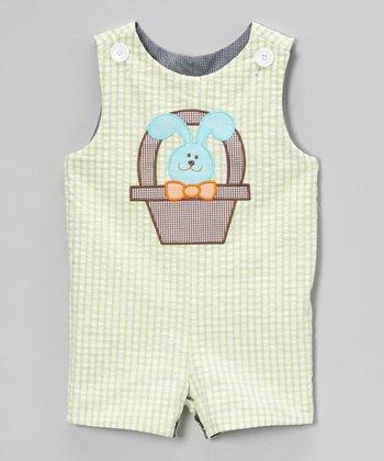 Black & Lime Basket Robot Reversible Shortalls - Infant & Toddler