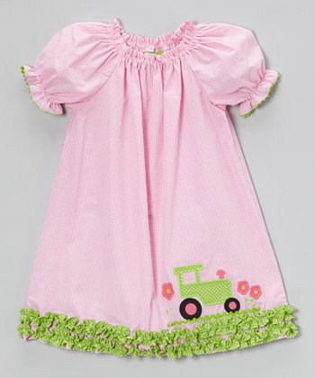 Pink Gingham Tractor Puff-Sleeve Dress - Infant, Toddler & Girls