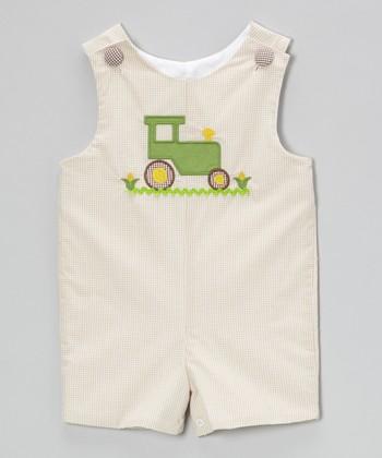 Khaki Gingham Tractor Shortalls - Infant & Toddler