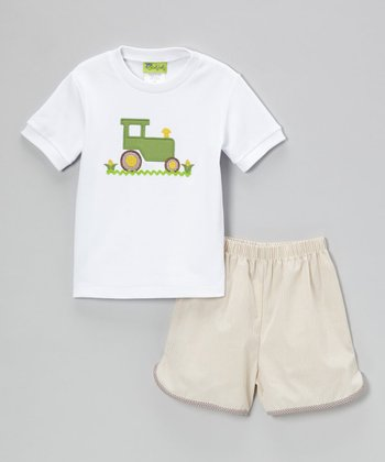 White Tractor Tee & Khaki Gingham Shorts - Infant, Toddler & Boys