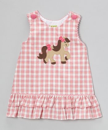 Pink Plaid Pony Ruffle Jumper - Infant, Toddler & Girls