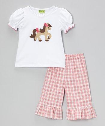 White Pony Top & Pink Plaid Capri Pants - Infant, Toddler & Girls