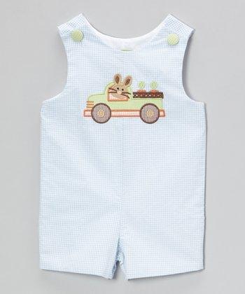 Light Blue Gingham Bunny Truck Shortalls - Infant & Toddler