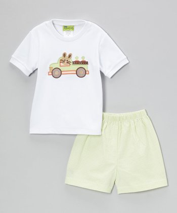 White Bunny Truck Tee & Lime Shorts - Infant, Toddler & Boys