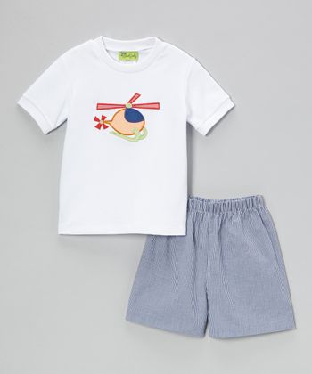 White Helicopter Tee & Royal Shorts - Infant, Toddler & Boys