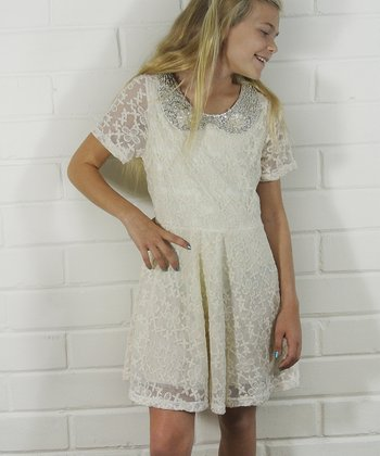 Ivory Pearl-Collar Lace Dress - Girls