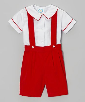 Red Suspender Shorts & Button-Up - Infant, Toddler & Boys