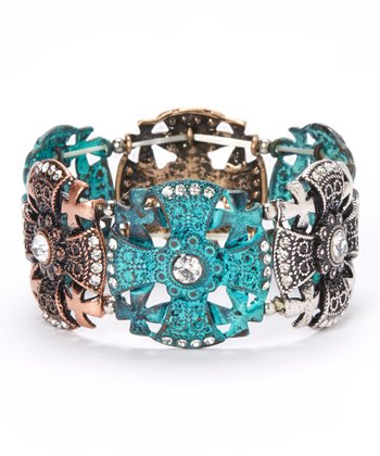 Turquoise & Tricolor Sparkle Maltese Cross Stretch Bracelet